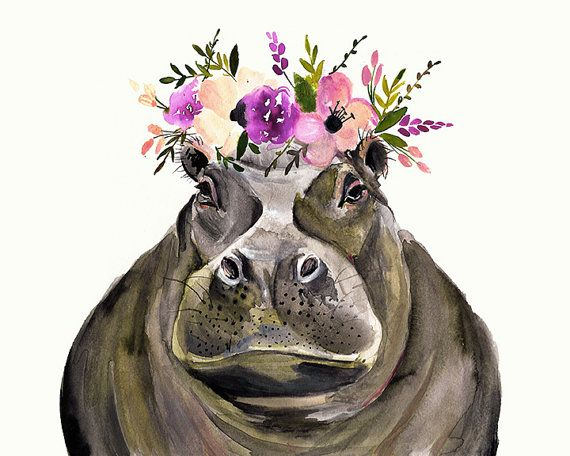 This listing is for an 8x10 inkjet print of my original watercolor of a hippo. All prints are printed on high-quality Epson Ultra Premium