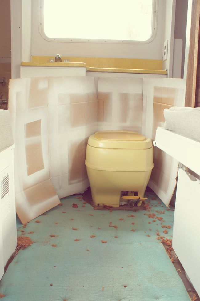 I also sprayed the toilet with some krylon indoor/outdoor plastic spray paint.