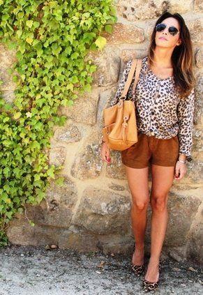 Shorts ante + Stilettos leopard print!  , Zara en Cardigans, Vintage  en Pantalones cortos, tod\s en Bolsos, Sam Edelman en Tacones / Plataformas