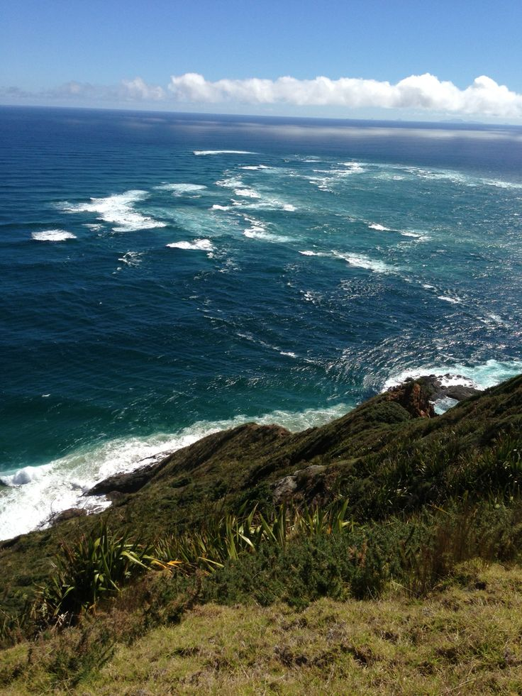 Two oceans collide. Cape Reinga.