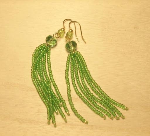 green beaded earrings. I think this is string, folded in half and crimped somehow at each end. No tutorial