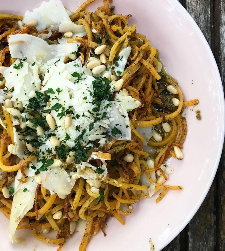 BBQ Chicken Spaghetti Squash Bowls + Pesto Butternut Squash Noodles - Designer Bags & Dirty Diapers