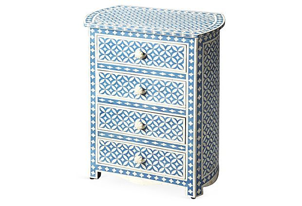 Charming bone inlay blue-and-white chest!