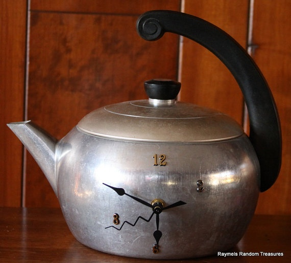 Vintage Art Deco Tea Kettle Kitchen Clock Wear Ever by RayMels, $24.95
