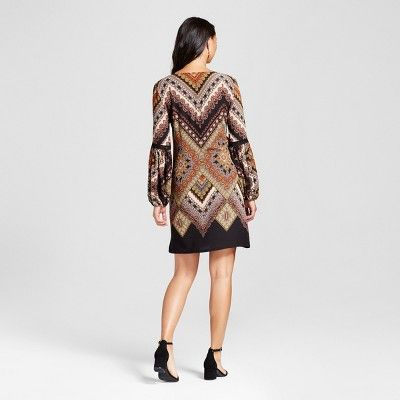 Women's Printed Balloon Sleeve Dress with Crochet Detail - Chiasso Black Combo S, Brown
