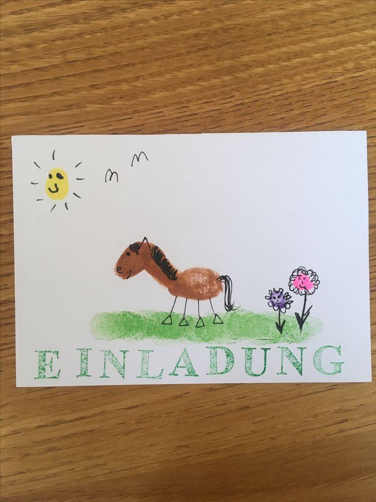 pferdegeburtstag einladung #fingerprint #pferdegeburtstag