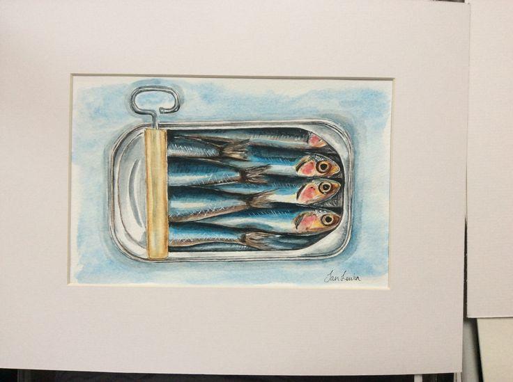 Watercolour 'Sardines in a tin'