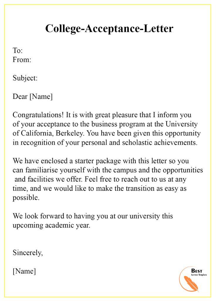 Collegeacceptanceletter Best Letter Template pertaining to