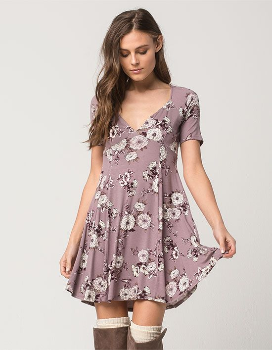 SOCIALITE Sketched Floral Cutout Dress