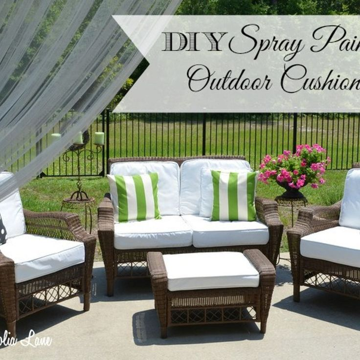 Painted Fabric Outdoor Cushions  Using A Paint Sprayer