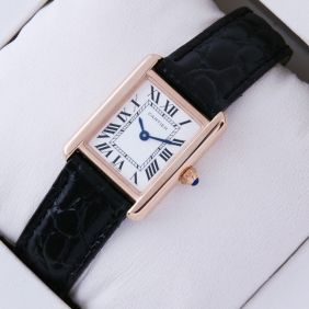 SWISS Cartier Tank Solo 18kt Rose Gold Black Leather Strap Ladies Watches fake