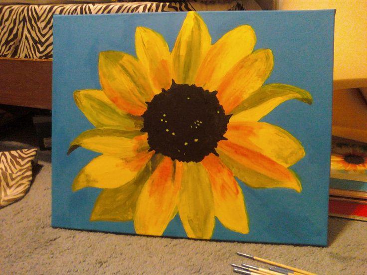 Acrylic Sunflower Painting   easy painting ideas ...