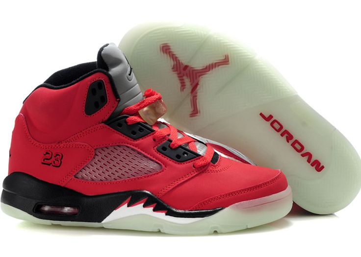 Jordans 5 Red Black Sale, made with Leather upper and luminescent Sole,  high qaulity