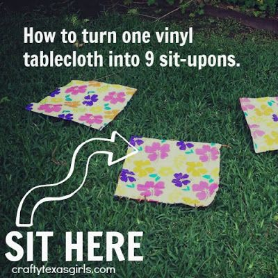 "OMG the ""sit upons"" ..... how could I ever have forgotten these?  Ours were just plain black though!  @Kristie Chatters Sit Upon using a Vinyl Tablecloth #summercelebration #craft"