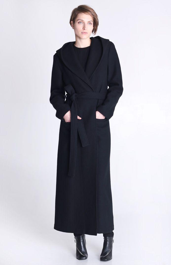 Длинное женское пальто капюшон Dressaddict   Prikidon