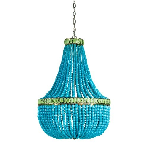 My goodness this is gorgeous...if it wasn't $3,960 this might have itself hanging above my dining room table  Find it at the Foundary - Hedy Chandelier - TurquoiseDecor, Lights, Hedi Chandeliers, Beads Chandeliers, Dining Room, Beach House, Turquoise, Company, Currey