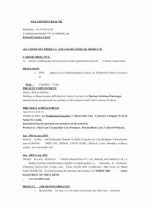 Entry Level Chemist Resume Best 9 10 Chemist Resume