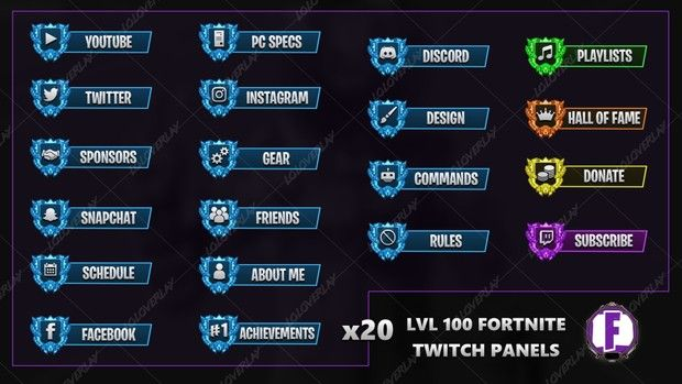 Lvl 100 Fortnite Twitch Panels Instagram Design Twitch Paneling