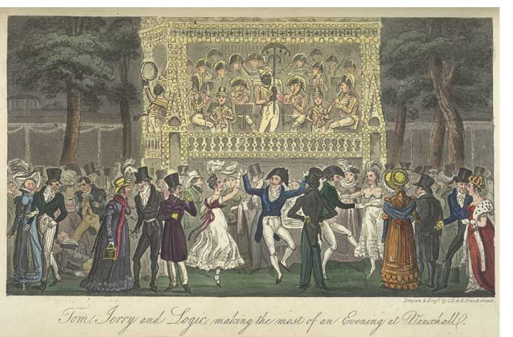 Dancing at Vauxhall gardens, London, 1823. Cruikshank. British Library