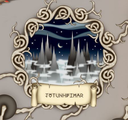 To the east is Jötunheimar, the homeland of the giants, rock and frost giants...