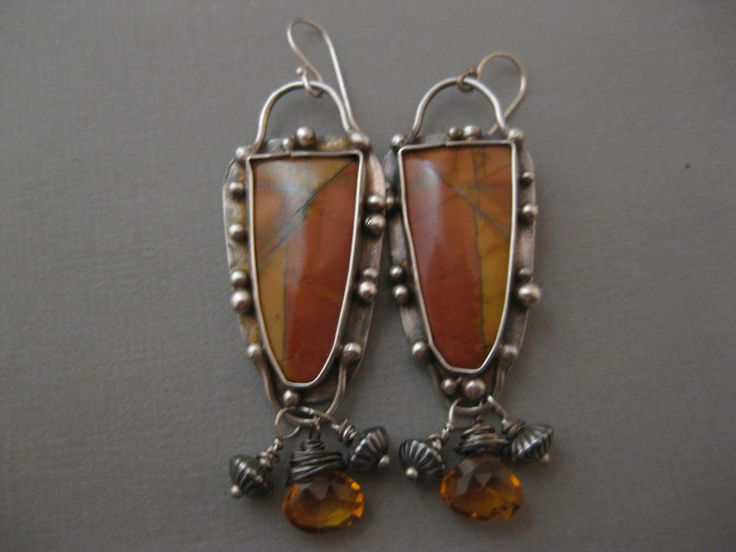 Cherry Creek Jasper and Citrine Sterling Silver Handmade Earrings by StrawberryFrog on Etsy https://www.etsy.com/listing/268200851/cherry-creek-jasper-and-citrine-sterling