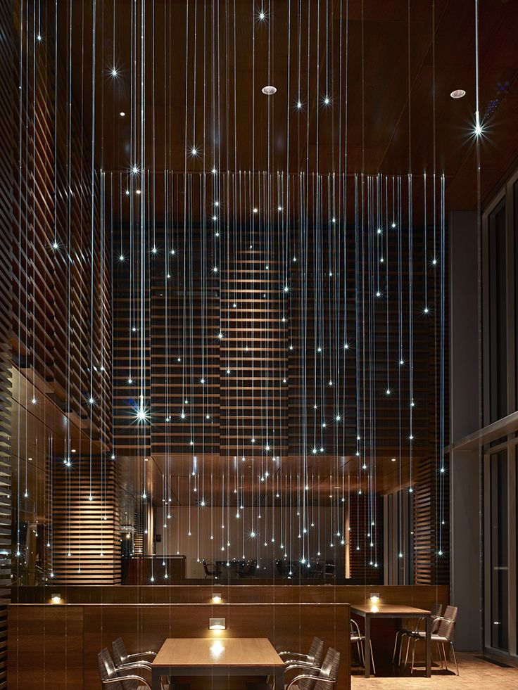 ELEMENTS restaurant by Elliott + Associates Architects. Fiber optic lighting detail looking east