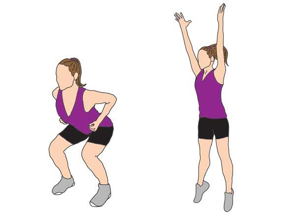Jump | Squat Start with knees slightly bent. Lower yourself down into a squat position and jump up with arms above your head to complete 1 move. These are challenging, so start with 2 sets of 10 reps and see how you feel.