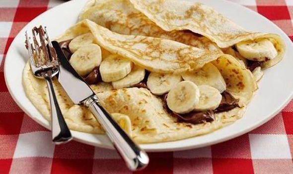 Nutella and banana pancakes, pancake day,
