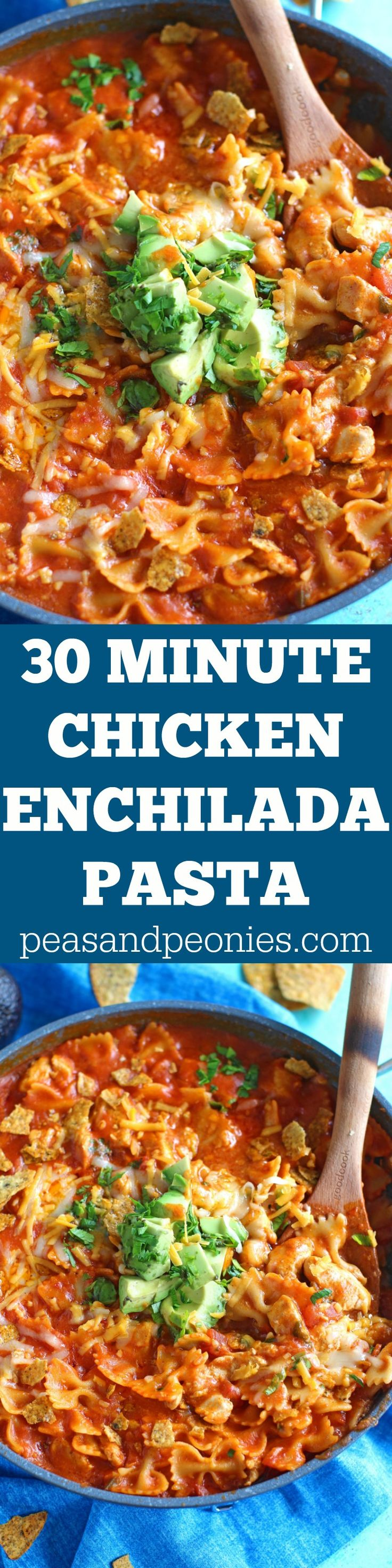 Chicken Enchilada Pasta is a hearty, easy and delicious weeknight meal, made with just a few ingredients and ready in 30 minutes.