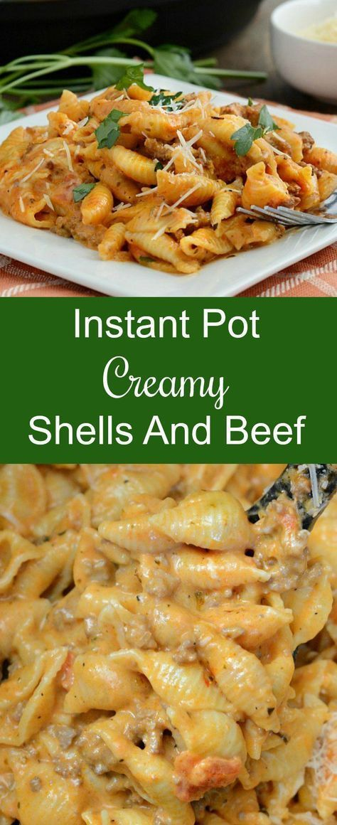 Instant Pot Creamy Shells and Beef - An easy dinner recipe made with pasta with ground beef in a tomato cream sauce and cooked in a pressure cooker. from Meatloaf and Melodrama #EasyDinner #InstantPot #PressureCooker