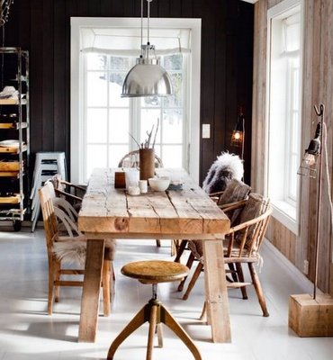 I love the rough wood table and the industrial lighting. Dining Room, Interiors, Kitchens Tables, Rustic Tables, Diningroom, Wood Tables, Wooden Tables, Dark Wall, Black Wall