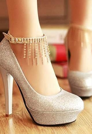 Round Closed Toe Stiletto High Heels Sliver PU Party Ankle Strap Pumps / Chiq