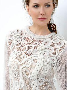 Ажурный комбинированный джемпер Белые деревья журнал мод 591 #irishlace #crochet #lace #knitting #blouson #irishcrochet