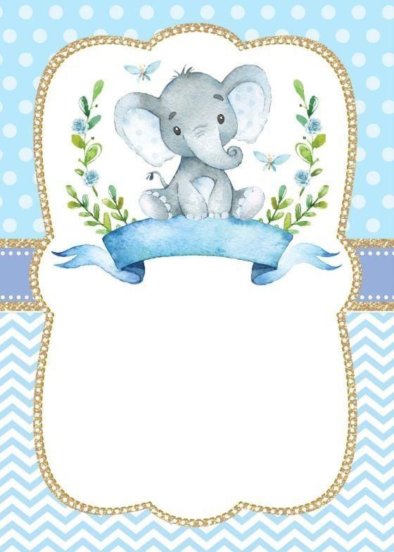 Invitaciones De Elefantes : invitaciones, elefantes, Fondo, Elefante, Invitaciones, Shower, Varón,, Bebé,, Plantillas, Invitación