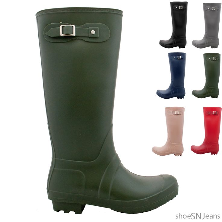 -New Women Flat Wellies Wellington Mid Calf Jelly Snow Rain Boots Waterproof Shoes --$21.59 #Sale #Price #Rain #Snow #Boots #Wellies #Wellington #Shoes #Low #Heel #Mid #Calf #Rubber #Solid #Color #Black #Navy #Nude #Red #Grey #Olive