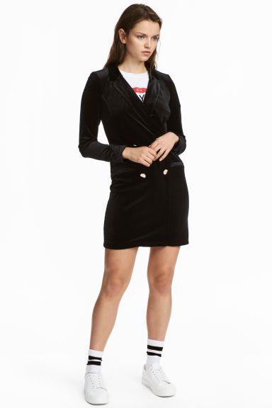 Velour Jacket Dress - Black - Ladies | H&M CA 1