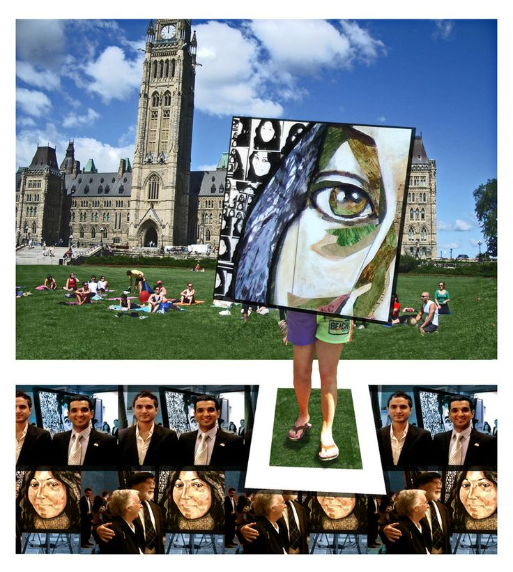 Voices of Refugees Project at the Parliament of Canada, The Voices of Refugees Installation featured  videos, paintings and live performance by Guatemalan revolutionary singer Tito Medina, featuring 8 portraits by Sherry Tompalski and 8 videos by Graham Thompson of refugees from Central America, Central Asia and Africa,  June 2009. SEE: http://globalvoicesproject.ca