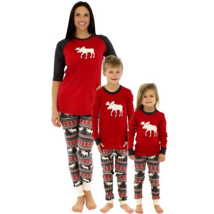 Family Matching Christmas Elk Printed Sleepwear Child Mom Dad Deer Striped Pajamas Set Family Clothing #Affiliate