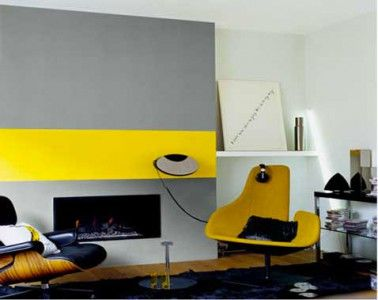 couleur decoration salon peinture gris et jaune