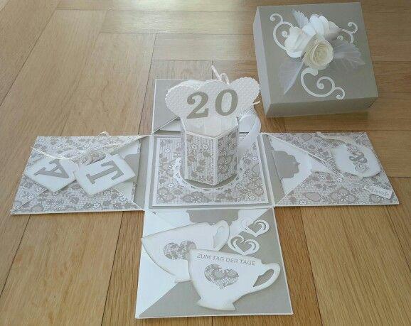 explosionsbox zum 20 hochzeitstag porzellanhochzeit spezielle karten pinterest. Black Bedroom Furniture Sets. Home Design Ideas