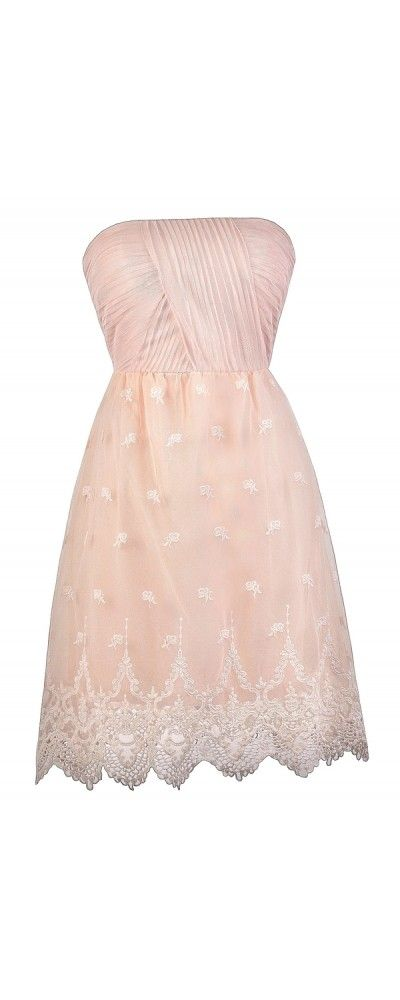 Lily Boutique Dainty Embroidery Strapless Mesh Pale Pink Party Dress, $52 Blush Pink Strapless Dress, Pale Pink Bridesmaid Dress, Cute Pink Dress www.lilyboutique.com