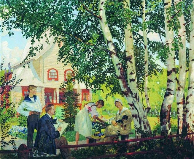 1914~1918 СЕМЬЯ (В ТЕРЕМЕ: супруга Юлия Евстафьевна и дети Кирилл и Ирина) by Boris Kustodiev (1878~1927)
