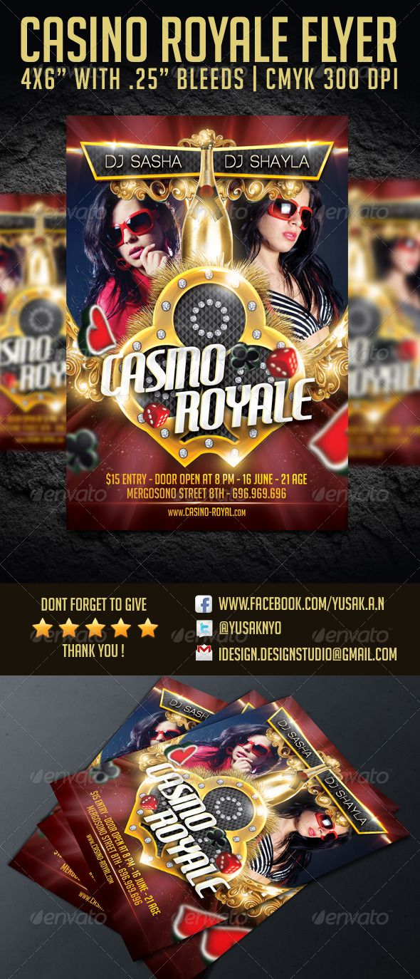 Casino Royale Flyer Template is ready for your event with poker or casino theme.  This template is perfected mixed in folders and layers.