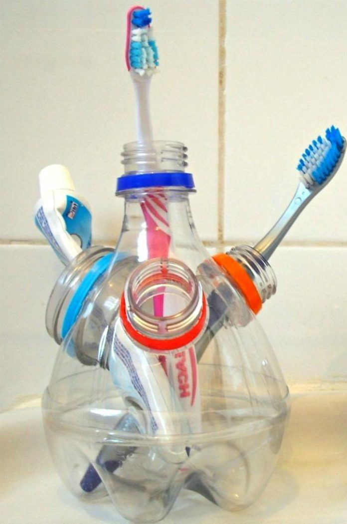 Diy pen stand toothbrush holder share your craft for Craft plastic