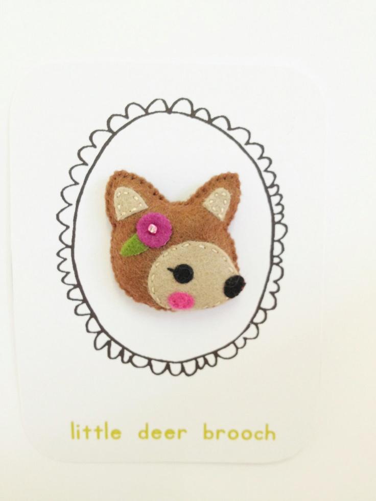 Felt Deer Brooch by littlehappystitches on Etsy