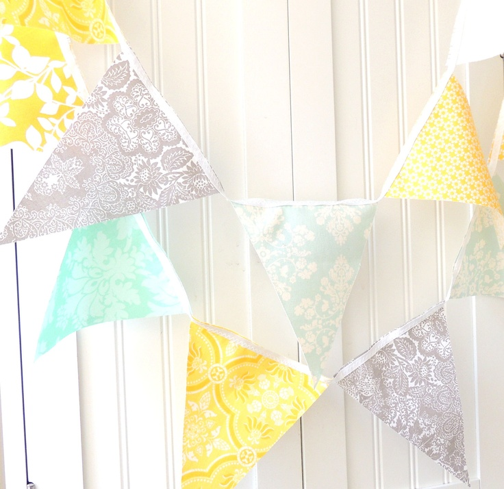 9 Feet Party Banner, 21 Flag Bunting, Pretty Flowers and Damask in Yellow, Aqua, Light Blue, Grey and Light Teal, Birthday, Wedding Decor. $32.00, via Etsy.