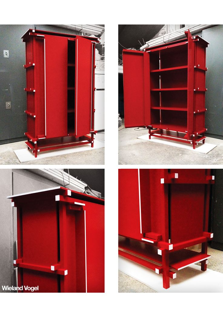 This cupboard is a homage to Gerrit Rietveld, inspired by 'The Rietveld Buffet' from 1919 www.wielandvogel.nl