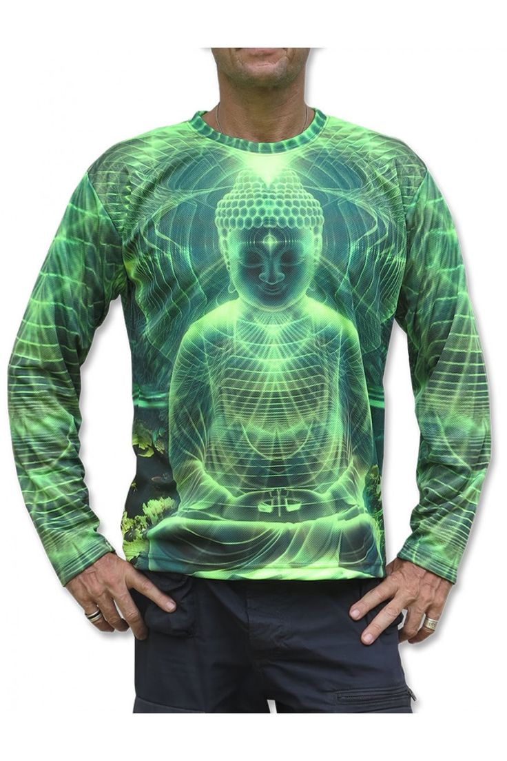 """UV Sublime L/S T : Lime Buddha Fully printed long sleeve T shirt. This shirt is an """"All Over"""" printed T shirt that will really grab people's attention. Printed using sublimation printing on a high quality UV Yellow polyester / Dri-Fit blended shirt. This allows for extremely vibrant colors that will never fade away no matter how many times it gets washed, & results in an extremely soft """"feel"""" to the shirt, providing ultimate comfort.  UV active - Glows under black light ! Artwork by…"""