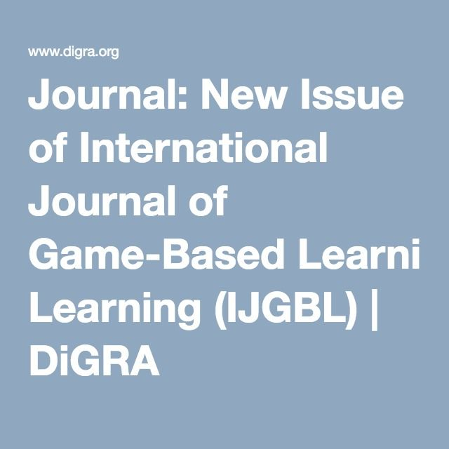 Journal: New Issue of International Journal of Game-Based Learning (IJGBL) | DiGRA