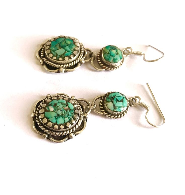 A personal favourite from my Etsy shop https://www.etsy.com/au/listing/551079110/raw-stone-turquoise-tribal-earrings